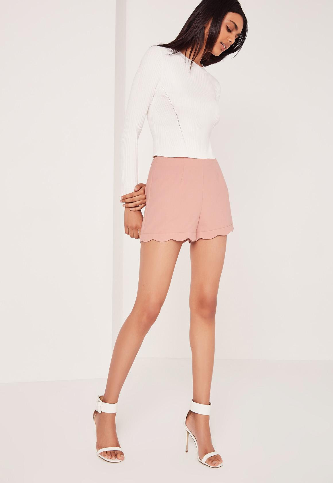 Scallop Hem High Waisted Shorts Blush Pink   Missguided