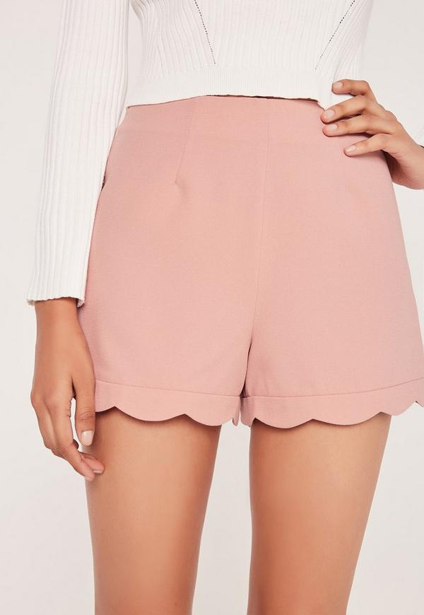 Scallop Hem High Waisted Shorts Blush Pink | Missguided