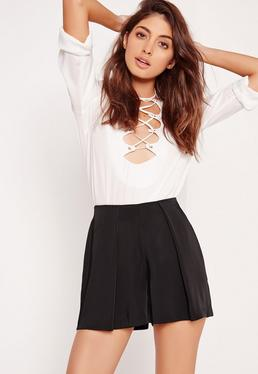 Satin Pleat Front Shorts Black