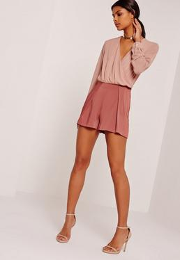 Satin Pleat Front Shorts Pink