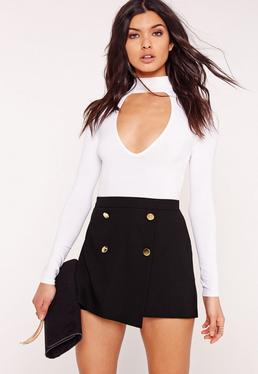 Button Front Tailored Shorts Black