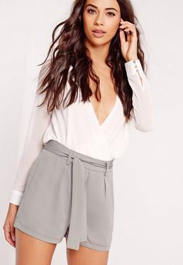 Tie Waist Crepe Tailored Shorts Grey