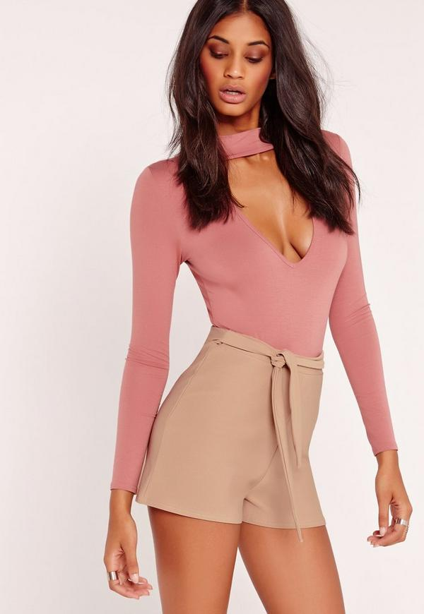 Tie Belt Crepe High Waist Shorts Nude