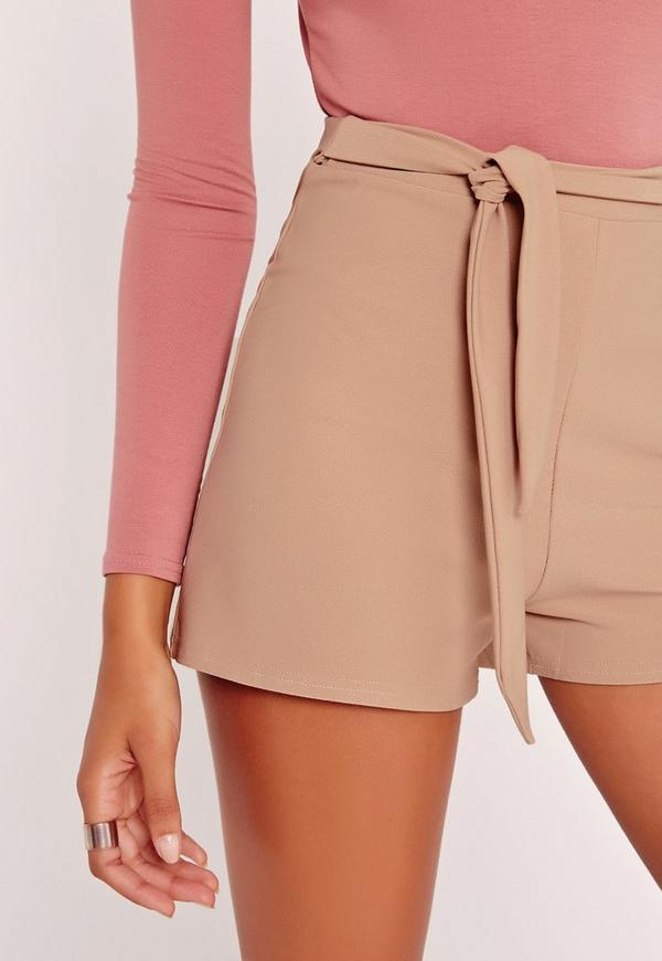 Tie Belt Crepe High Waist Shorts Nude   Missguided