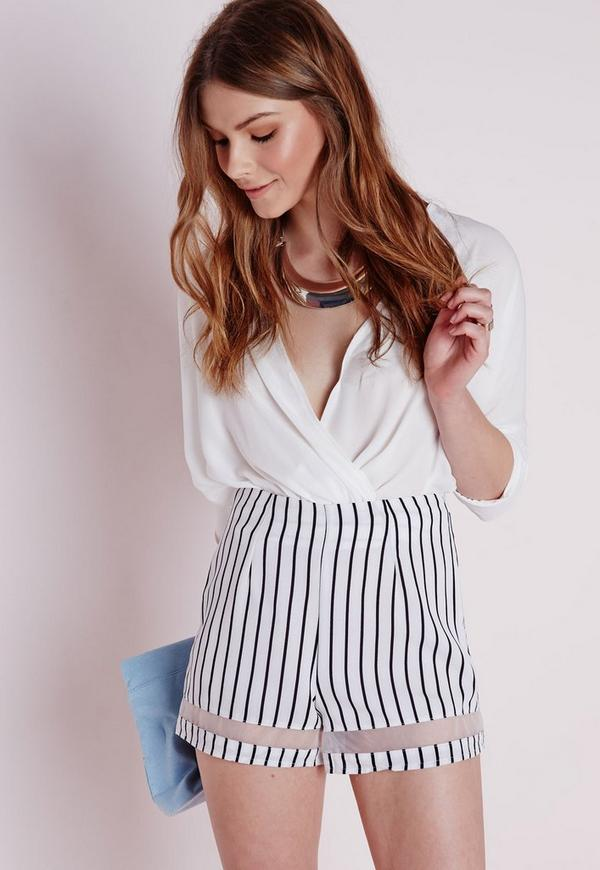 Stripe Sheer Hem Shorts White