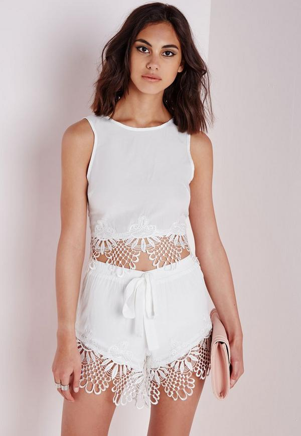 Tie Waist Crochet Detail Runner Shorts White