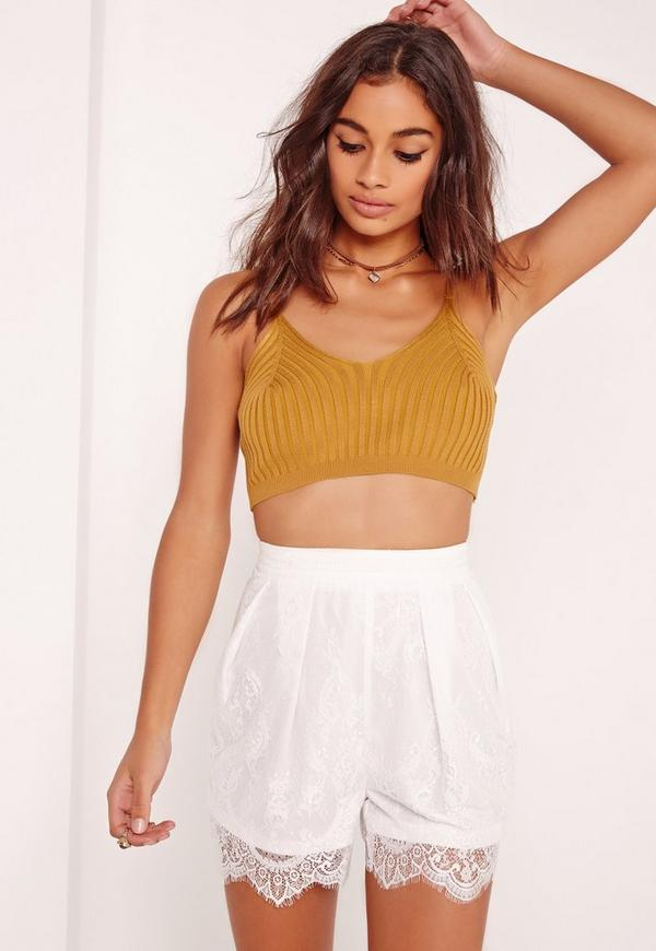 Lace Pleated Front Shorts White