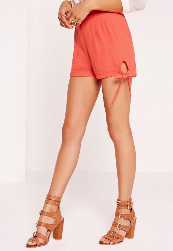 Tie Detail High Waisted Shorts Orange | Missguided
