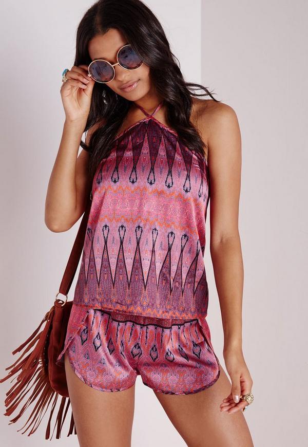 Paisley Print Curve Hem Runner Shorts Pink