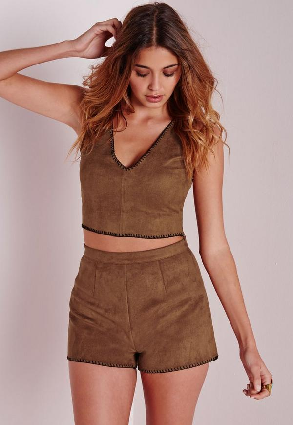 Pocket Stitch Detail Faux Suede Shorts Tan