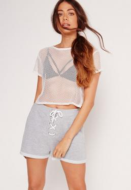 Eyelet Lace Up Shorts Grey
