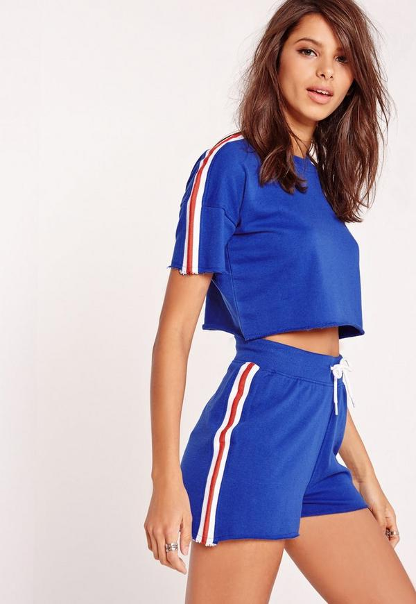 Sporty Contrast Striped Drawstring Shorts Cobalt Blue