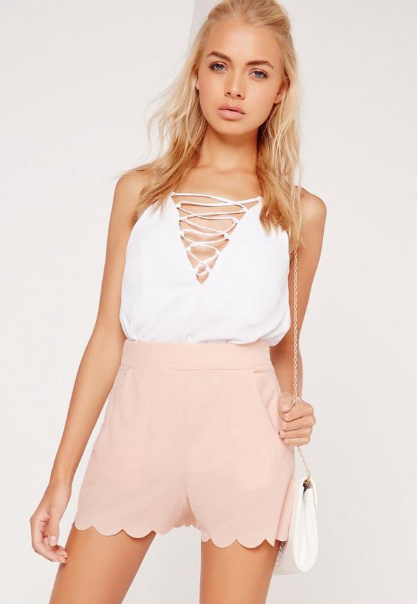 Scallop Edge Crepe Shorts Pink