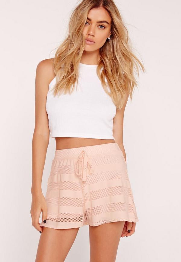 Mesh Stripe Runner Shorts Pink