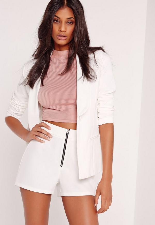 Zip Detail Shorts White