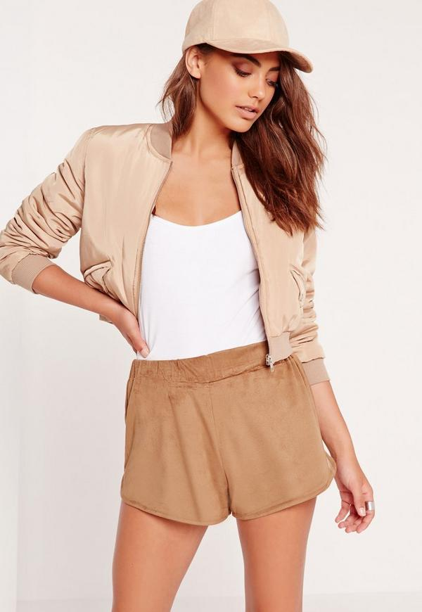 Faux Suede Runner Shorts Camel