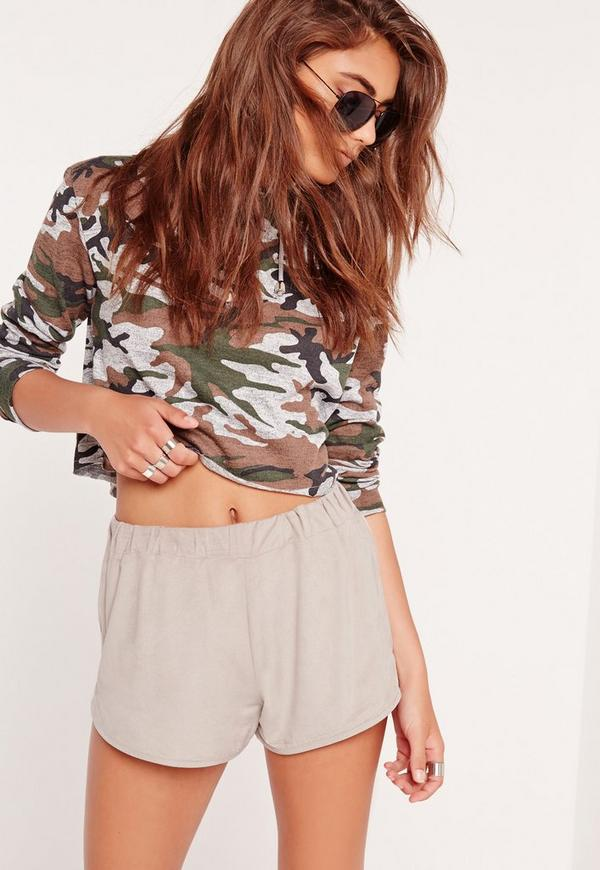 Faux Suede Runner Shorts Grey