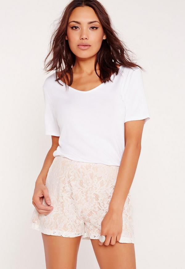Lace High Waisted Shorts White