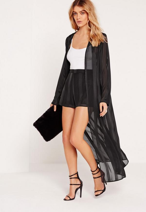 Stripe Silky High Waisted Shorts Black