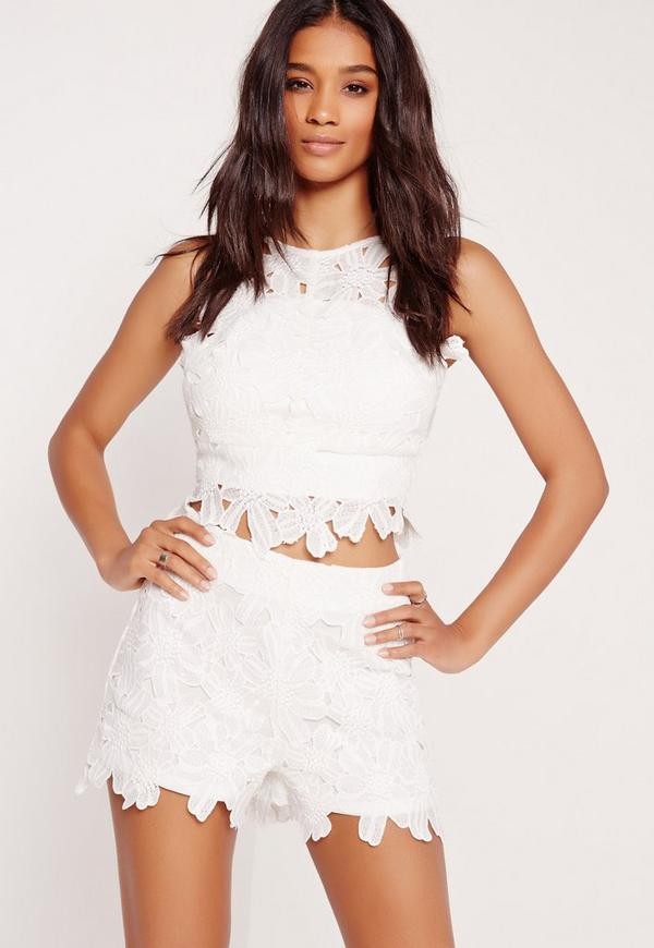 Flower Lace Shorts White