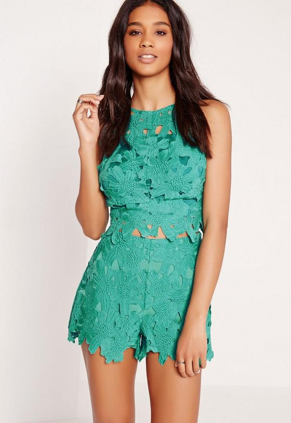 All Over Lace Floral Shorts Green
