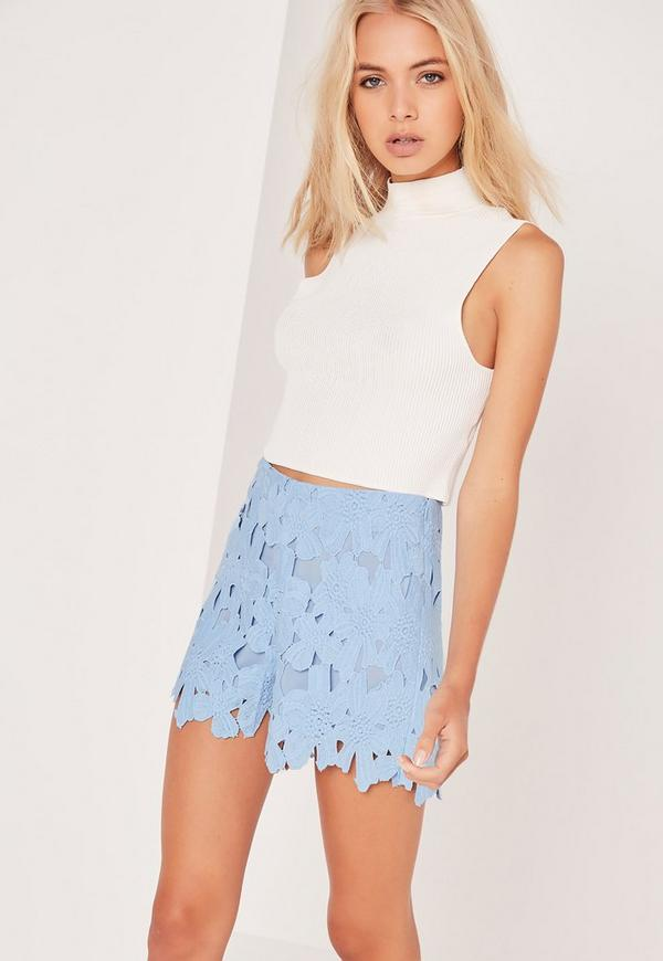 All Over Lace Floral Shorts Blue