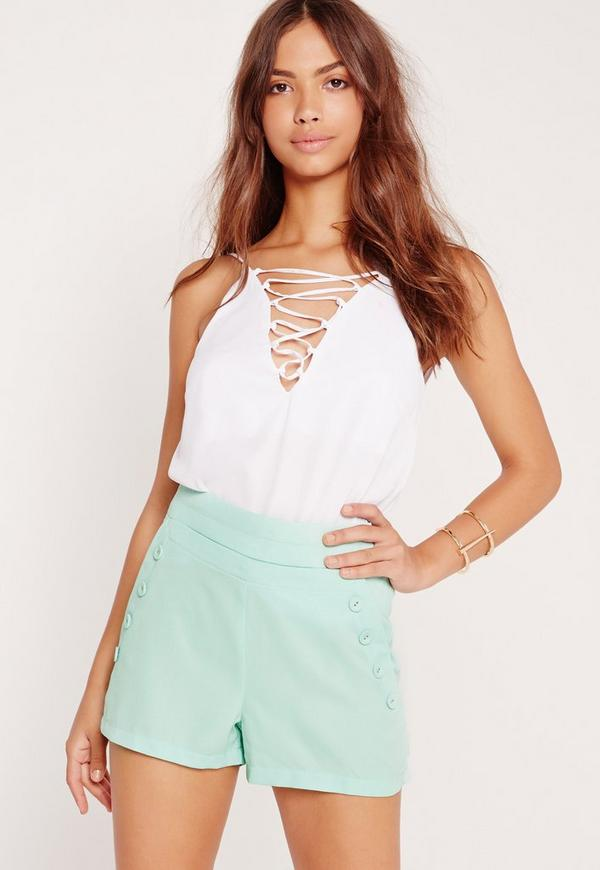 Button Front Pocket Shorts Green