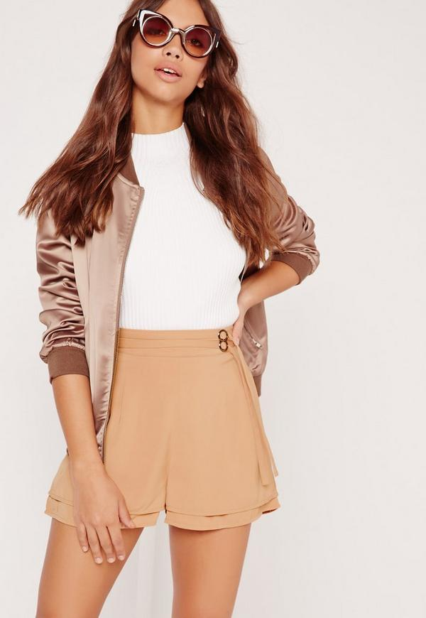 Double Belt Tie High Waisted Shorts Tan