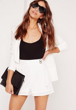 Double Belt Tie High Waisted Shorts White