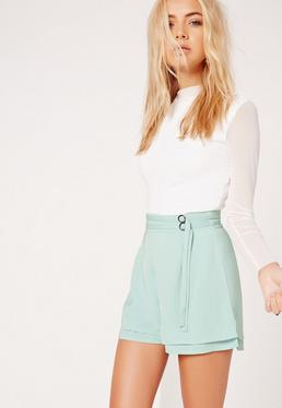 Double Belt Tie High Waisted Shorts Green