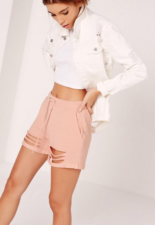 Extreme Distressed Shorts Pink