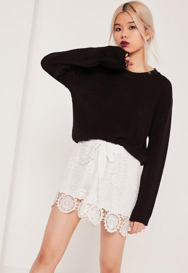 All Over Lace Tie Waist Short White
