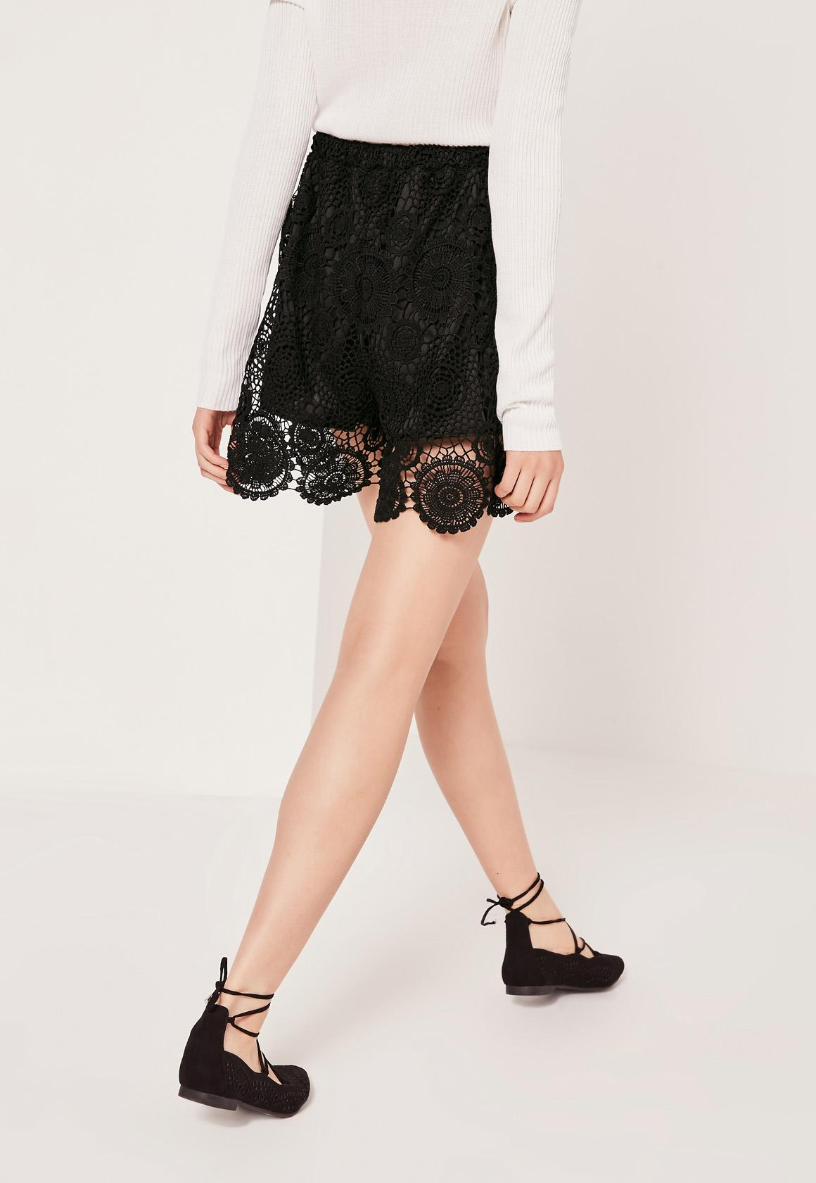 All Over Lace Tie Waist Short Black