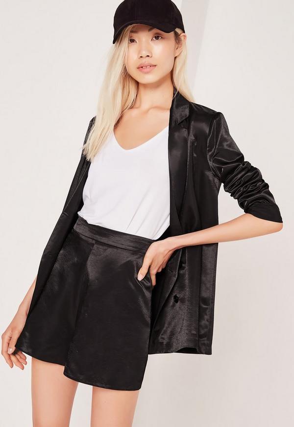 Premium Satin High Waisted Shorts Black