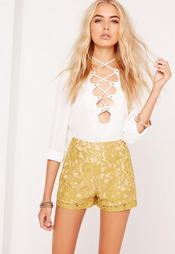 Lace High Waisted Shorts Green