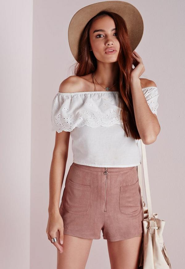 Ring Zip Faux Suede Shorts Mauve