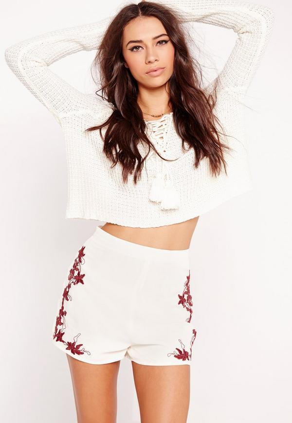 Floral Embroidered High Waisted Shorts White