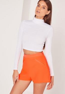 High-Waist-Shorts aus Kreppstoff in Orange