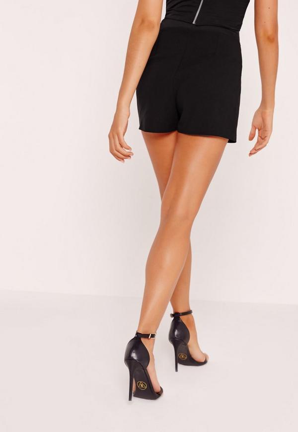 high waisted crepe shorts black missguided australia