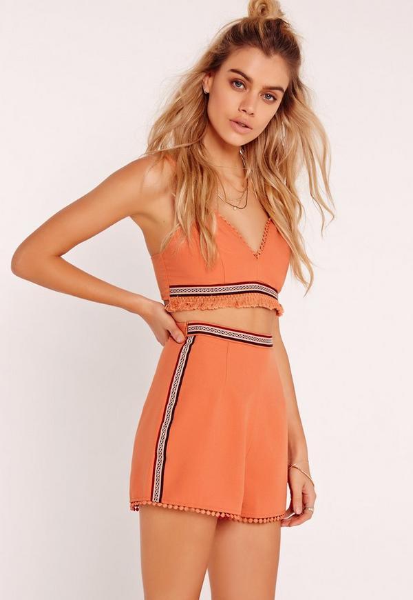 Tape Detail High Waistted Shorts Orange
