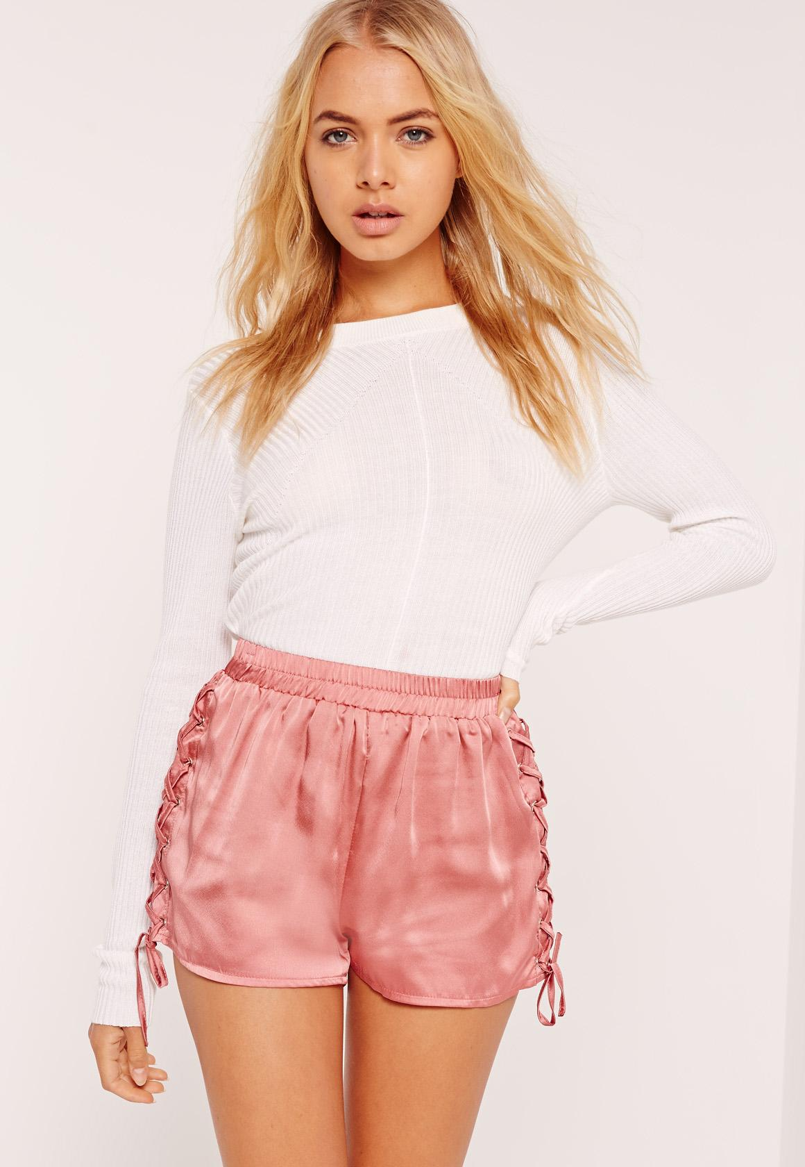 Lace Up Side Satin Shorts Pink