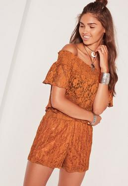 High Waisted Pleated Lace Shorts Orange