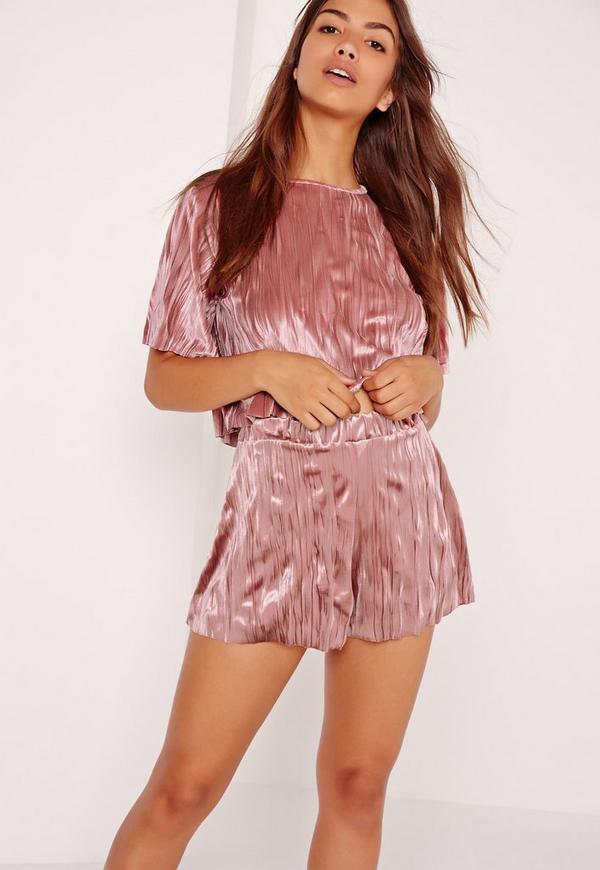 Crushed Velvet Shorts Pink