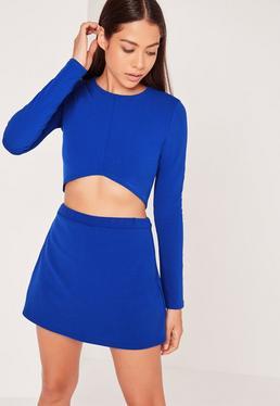 Jupe-short en jersey bleu électrique