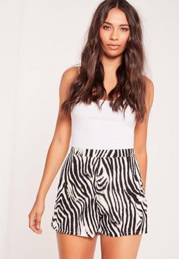 Satin-Shorts mit Zebraprint in Mehrfarbig