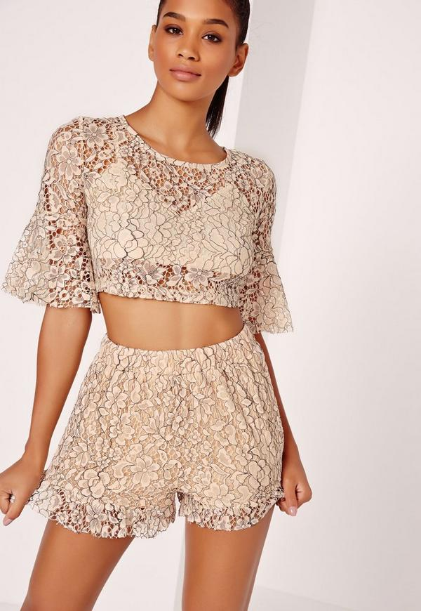 Corded Lace Floaty Shorts Nude