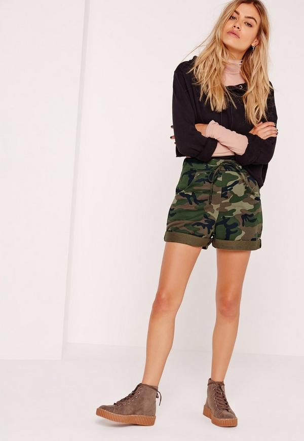 Camo High Waisted Runner Shorts