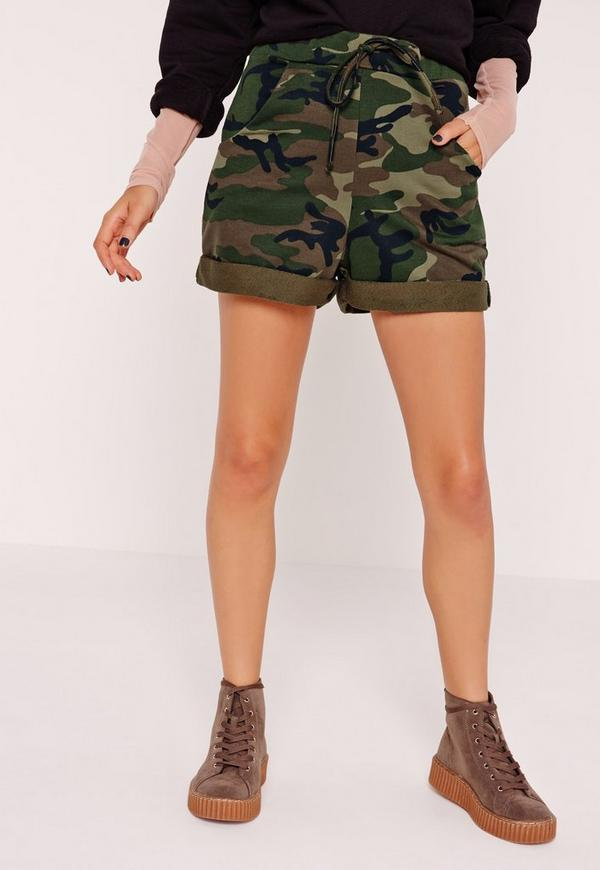 Camo High Waisted Runner Shorts | Missguided
