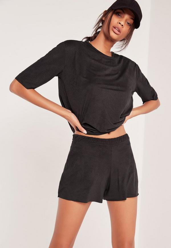 Faux Suede Perforated Runners Shorts Black