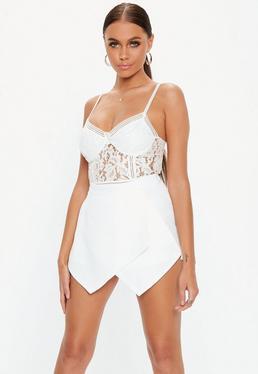 Falda pantalón con detalle cruzado blanca